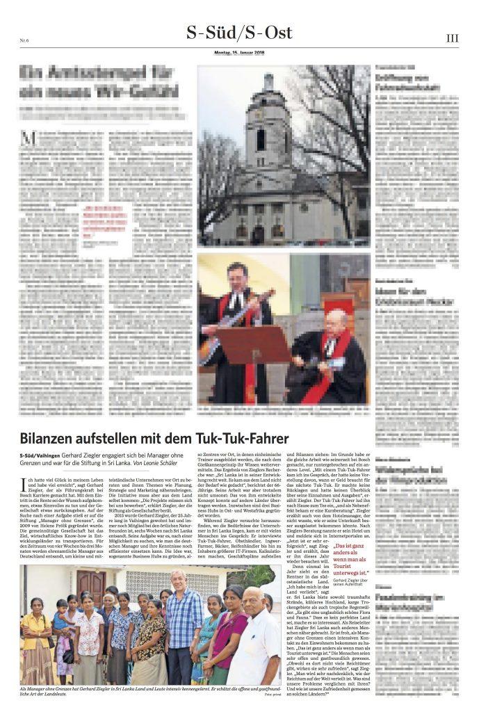 Manager ohne Grenzen in der Stuttgarter Zeitung, Januar 2018