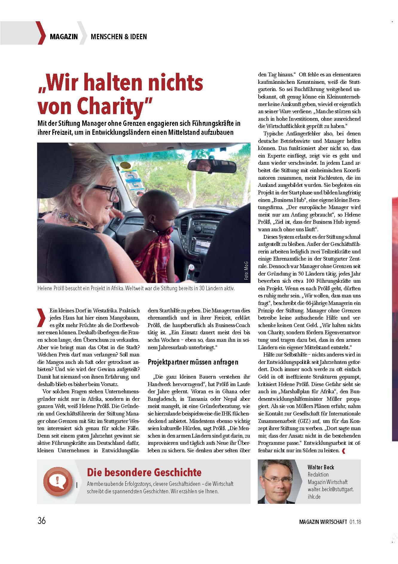 Manager ohne Grenzen im IHK Magazin, Januar 2018