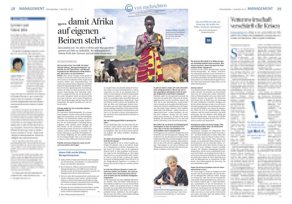 Manager ohne Grenzen in den VDI Nachrichten, Juni 2018