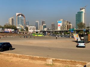 Am zentralen Meskel Square in Äthiopien entstanden vor der Coronakrise jede Menge neue Hochhäuser – ein Symbol für den wirtschaftlichen Aufschwung im Land.